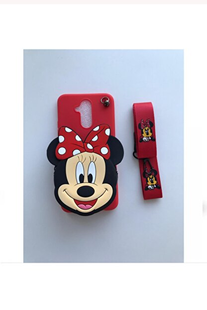 Kılıfsiparis Huawei Mate 20 Lite Minnie Mouse Cüzdan Askılı Silikon Kılıf