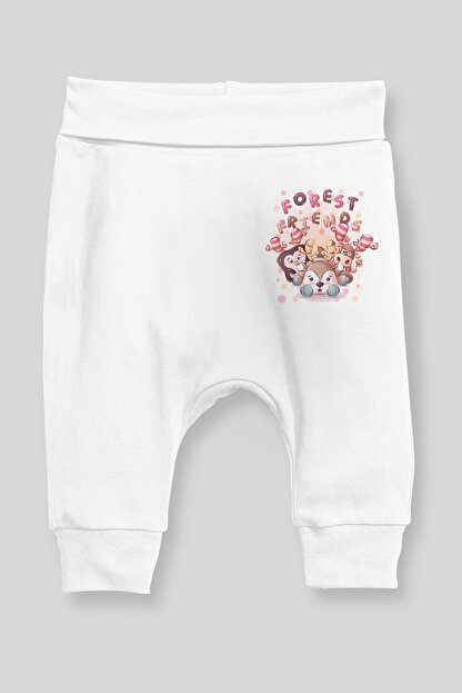 Angemiel Baby Orman Arkadaşlığı Kız Bebek Şalvar Pantalon Beyaz
