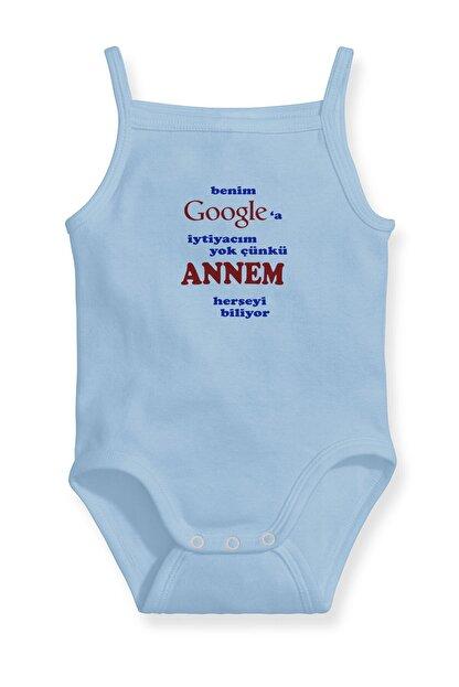 Angemiel Baby Benim Google'a Ihtiyacım Yok Annem Var Erkek Bebek Askılı Zıbın Body Atlet Mavi