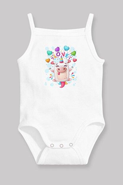 Angemiel Baby Sevimli Tek Boynuzlu Domuz Kız Bebek Askılı Zıbın Body Atlet Beyaz