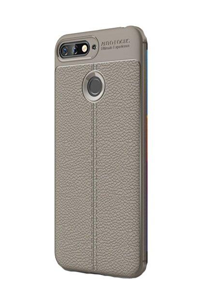 KNY Huawei Y7 2018 Kılıf Deri Desenli Lux Niss Silikon+cam Ekran Koruyucu