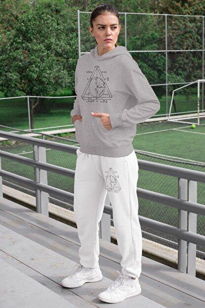 Angemiel Wear Geometrik Şekiller Kadın Eşofman Takımı Gri Kapşonlu Sweatshirt Beyaz Eşofman Altı