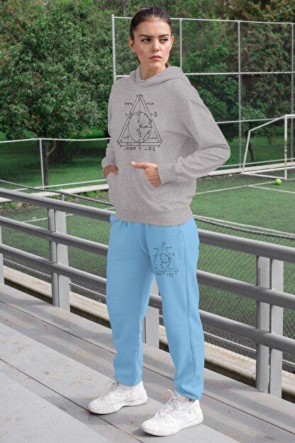 Angemiel Wear Geometrik Şekiller Kadın Eşofman Takımı Gri Kapşonlu Sweatshirt Mavi Eşofman Altı