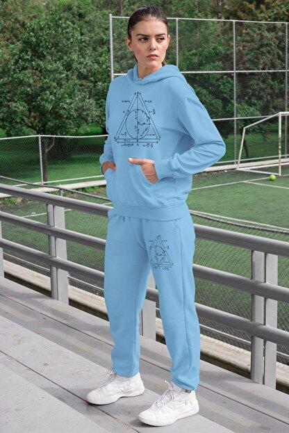 Angemiel Wear Geometrik Şekiller Kadın Eşofman Takımı Mavi Kapşonlu Sweatshirt Mavi Eşofman Altı