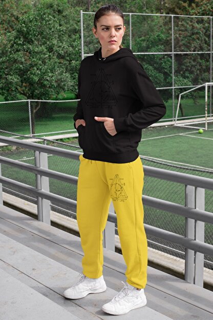 Angemiel Wear Geometrik Şekiller Kadın Eşofman Takımı Siyah Kapşonlu Sweatshirt Sarı Eşofman Altı