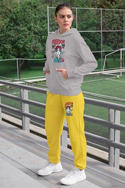 Angemiel Wear Freedom Aslan Kadın Eşofman Takımı Gri Kapşonlu Sweatshirt Sarı Eşofman Altı