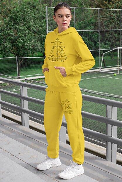 Angemiel Wear Geometrik Şekiller Kadın Eşofman Takımı Sarı Kapşonlu Sweatshirt Sarı Eşofman Altı