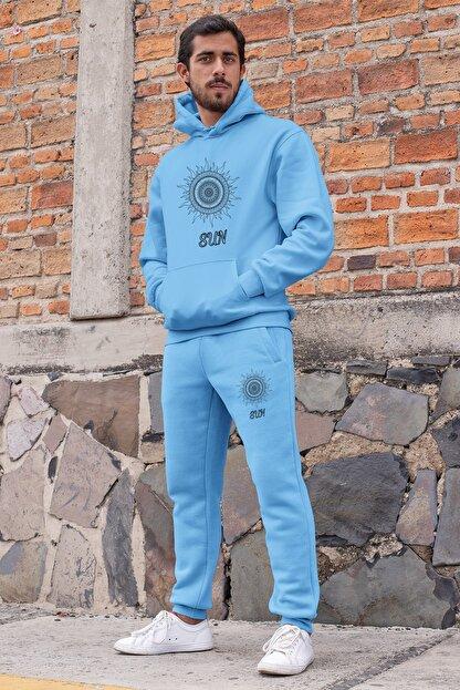 Angemiel Wear Motifli Güneş Erkek Eşofman Takımı Mavi Kapşonlu Sweatshirt Mavi Eşofman Altı