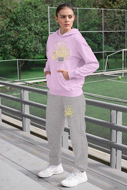 Angemiel Wear Malibu Kadın Eşofman Takımı Pembe Kapşonlu Sweatshirt Gri Eşofman Altı