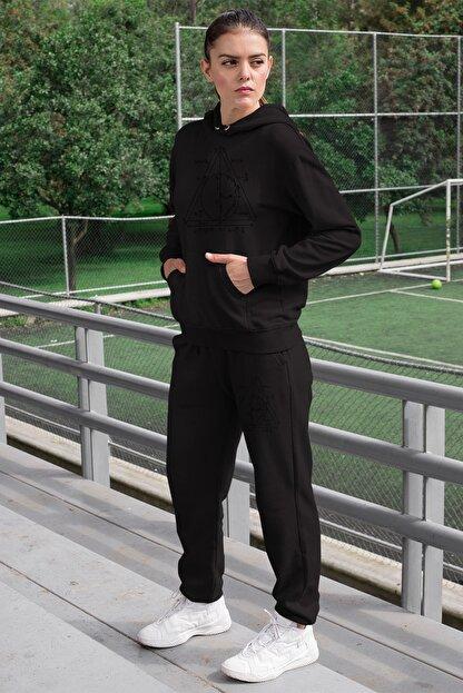 Angemiel Wear Geometrik Şekiller Kadın Eşofman Takımı Siyah Kapşonlu Sweatshirt Siyah Eşofman Altı