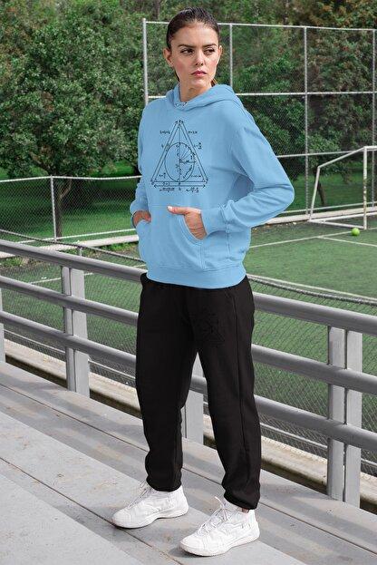 Angemiel Wear Geometrik Şekiller Kadın Eşofman Takımı Mavi Kapşonlu Sweatshirt Siyah Eşofman Altı