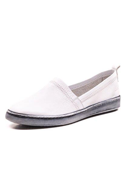 GRADA Beyaz Sade Düz Hakiki Deri Kadın Ayakkabı