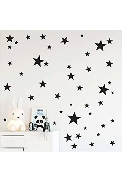 hediyepostası Yıldız Duvar Sticker Siyah 3-4-5cm 100 Adet