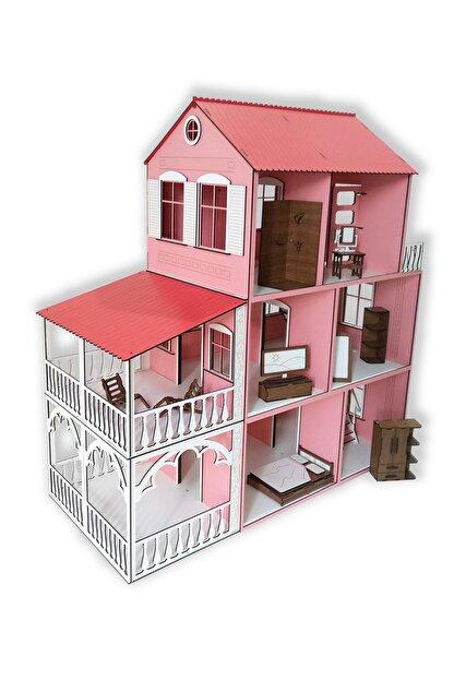 ALFAGAMA Ahşap Barbie Oyun Evi 48 Parça Eşyalı Set 80 Cm