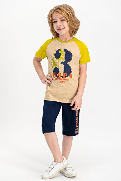 US Polo Assn Erkek Çocuk Bej Lisanslı Kum  Kapri Takım