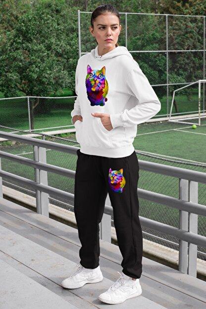 Angemiel Wear Curious Cat Kadın Eşofman Takımı Beyaz Kapşonlu Sweatshirt Siyah Eşofman Altı