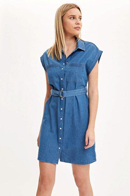 Defacto Kadın Mavi Kemer Detaylı Slim Fit Jean Elbise R0364AZ.20SM.NM28