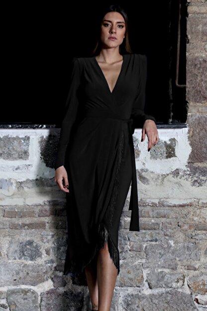 PELIA Püsküllü Siyah Kruvaze Elbise