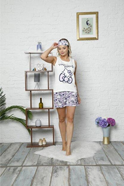 Adamaya Moda Beyaz Lila Şortlu Askılı Göz Bantlı Penye Pijama Takımı