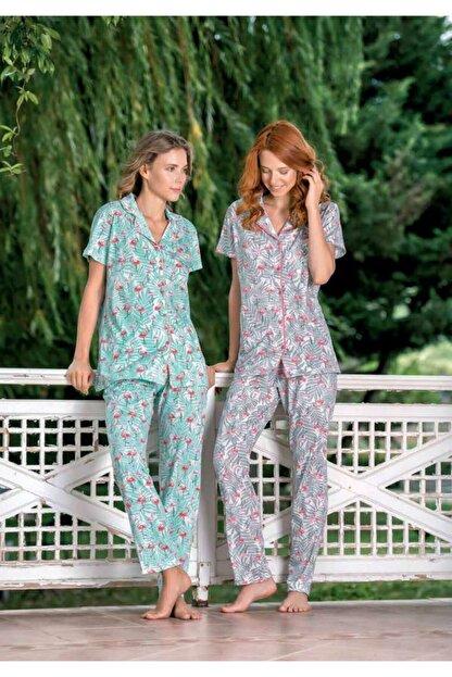 Yeni İnci Bpj1544 Kadın Önden Düğmeli Üçlü Pijama Takım - Turkuaz