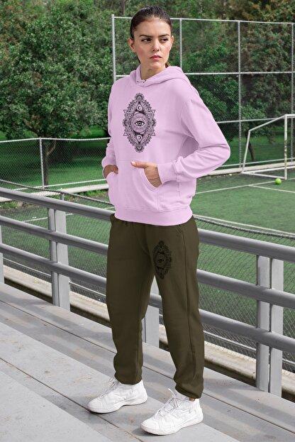 Angemiel Wear Üçgen Motifleri Ay Ve Göz Kadın Eşofman Takımı Pembe Kapşonlu Sweatshirt Yeşil Eşofman Altı