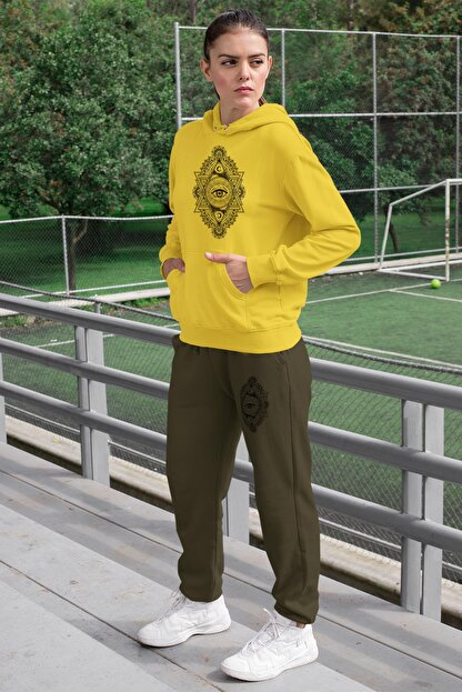 Angemiel Wear Üçgen Motifleri Ay Ve Göz Kadın Eşofman Takımı Sarı Kapşonlu Sweatshirt Yeşil Eşofman Altı