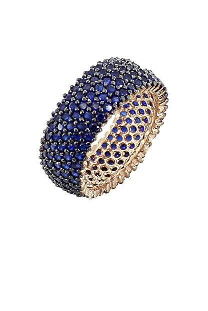 Alis Silver 925 Ayar Gümüş Parlement Mavisi Zirkon Taşlı Rose Renk Tam Tur Bayan Yüzük