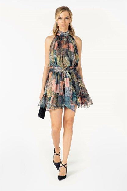 VorNişantaşı Tasarım Kuşaklı Patchwork Desenli Ipek Mini Elbise