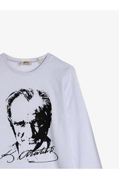Koton Unisex Çocuk Beyaz Atatürk Baskılı Uzun Kollu Tshirt
