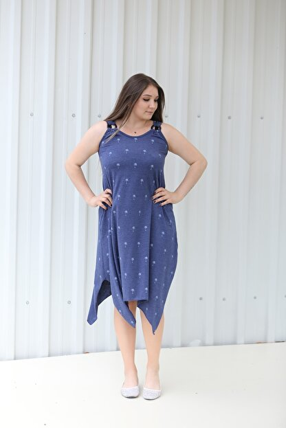 MGS LİFE Kadın, Askılı, Toka Detaylı, Asimetrik Kesim, Kırçıllı Mavi Renkli Büyük Beden Elbise