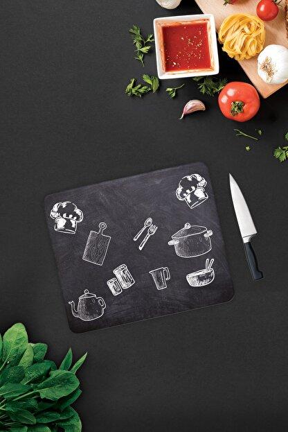Decorita Kara Tahta Görünümlü | Cam Kesme Tahtası - Cam Kesme Tablası | 29cm x 34cm