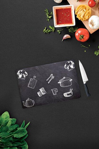 Decorita Kara Tahta Görünümlü | Cam Kesme Tahtası - Cam Kesme Tablası | 20cm x 30cm