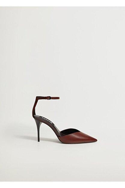 Mango Kadın Bordo Topuklu Deri Ayakkabı