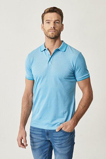 Altınyıldız Classics Erkek Mavi Düğmeli Polo Yaka Cepsiz Slim Fit Dar Kesim Düz Tişört
