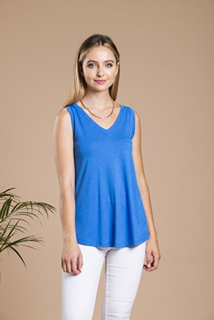 SHIEBA Kadın Mavi V Yaka Bol Kesim Salaş Balon T-shirt