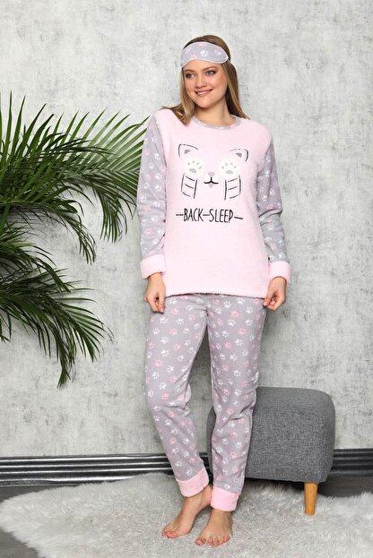 Manolya Kadın Toz Pembe Kışlık Uzun Kollu Peluş Polar Pijama Takımı