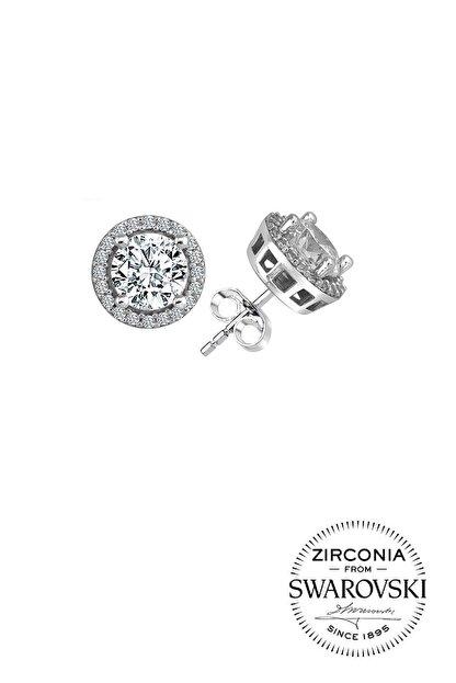 Söğütlü Silver Gümüş Taşlı Pırlanta Modeli Yuvarlak Küpe