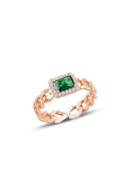 Söğütlü Silver Gümüş Ayarlamalı Baget Yeşil Taşlı Zincir Modeli Yüzük