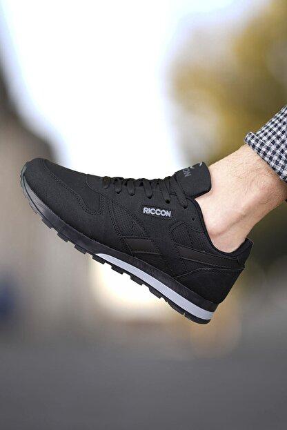 Riccon Siyah Siyah Unisex Cilt Sneaker 0012853