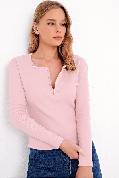 Trend Alaçatı Stili Kadın Toz Pembe Çıtçıtlı Kaşkorse Bluz MDS-345-BLZ
