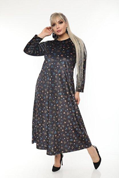 Şirin Butik Büyük Beden Yaka Pervazlı Kadife Elbise