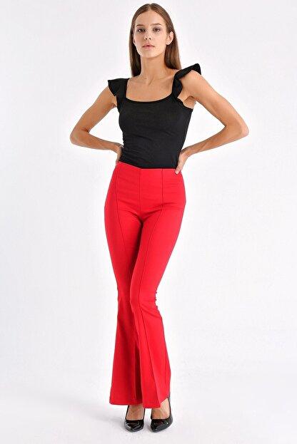 Jument Kadın Kırmızı Ön Arka Dikişli Ispanyol Paça Tayt Pantolon