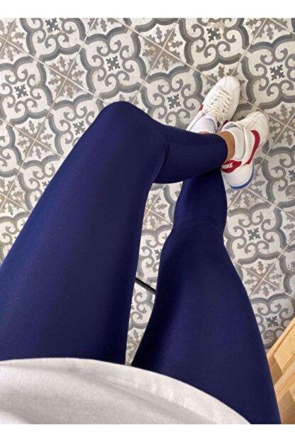 Modaruba Kadın Lacivert Yüksek Bel Günlük Ve Sporda Kullanım Toparlayıcı Parlak Disco Tayt 1 Beden Toparlar