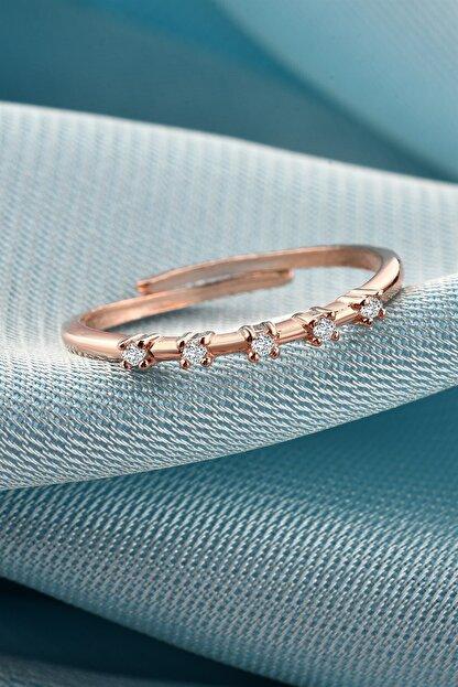jelux silver Minimalist Sıralı Zirkontaşlı Rose Renkli Gümüş Ayarlanabilir Yüzük
