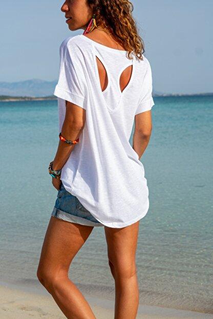 Güneşkızı Kadın Beyaz Sırtı Atlet Detaylı Salaş T-shirt Gk-jr220