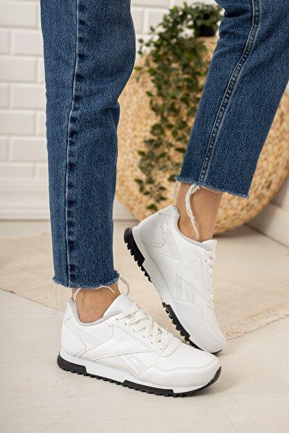Moda Değirmeni Kadın Beyaz Siyah Tabanlı Sneaker Md1053-101-0001