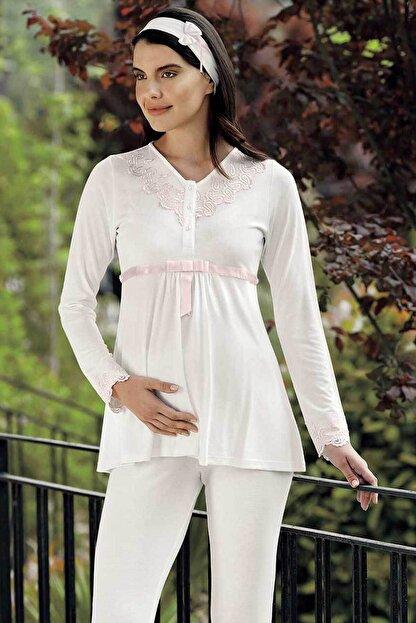 Şahinler Kadın Ekru Lohusa Pijama Takımı Mbp23728-1