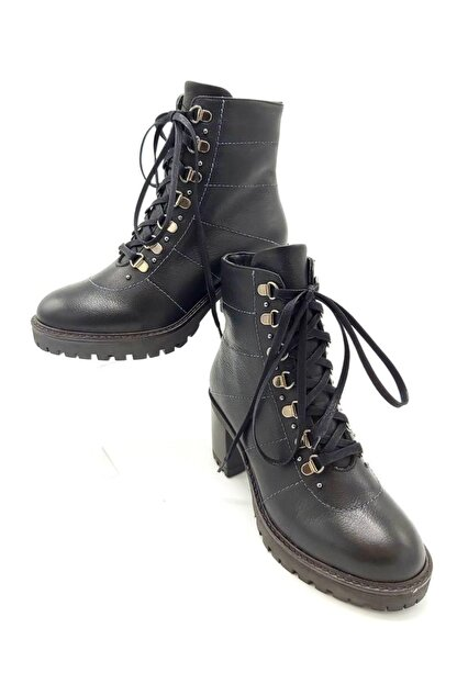 CassidoShoes Kadın Siyah Hakiki Deri Fermuarlı Bağcıklı Topuklu Bot