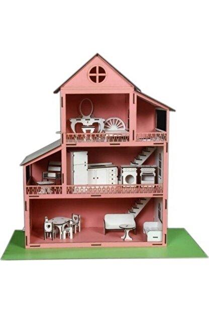 Rüya Gezegeni Ahşap Oyun Barbie Evi 18 Parça Mobilyalı Eşyalı