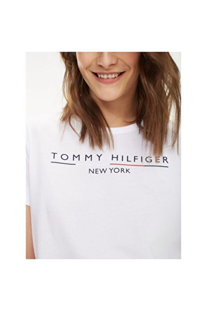 Tommy Hilfiger Kadın Beyaz New York Print Logo Women T- Shirt